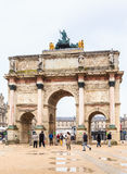 The Arc de Triomphe du Carrousel is a triumphal arch in Paris. Located in the Place du Carrousel Stock Image