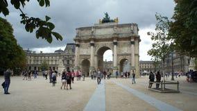 Arc de Triomphe du Carrousel in Tuileries Garden, Paris, France. PARIS, FRANCE - JULY 22,2017: Arc de Triomphe du Carrousel in Tuileries Garden stock video