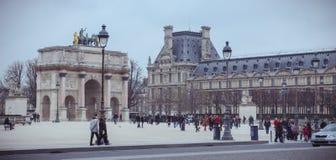 Arc de Triomphe du Karusell jn Paris, Frankrike Royaltyfri Fotografi