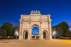 Arc de Triomphe du Karusell på Tuileries trädgårdar i Paris, Fran Royaltyfri Fotografi