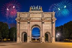 Arc de Triomphe du Karusell på Tuileries trädgårdar, Paris Arkivbild
