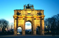 Arc de Triomphe du Karusell Paris Frankrike arkivbild