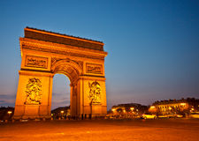 Arc de triomphe at dusk 1. Arc de Triomphe de l'Étoile at dusk, Paris, France Royalty Free Stock Photo