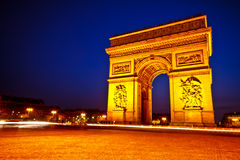Arc de triomphe at dusk 2. Arc de Triomphe de l'Étoile at dusk, Paris, France Stock Photo