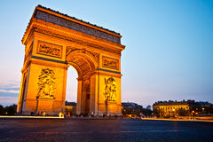 Arc de triomphe at dusk 3. Arc de Triomphe de l'Étoile at dusk, Paris, France Stock Images