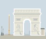 Arc de Triomphe e o Obelisk de Luxor, Paris ilustração royalty free