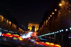 Arc DE Triomphe en Champs Elysees, Parijs, Frankrijk Stock Afbeelding
