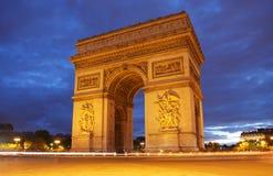 Arc de Triomphe en París Imagenes de archivo