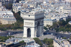 The Arc de Triomphe EOS Rebel. Photo taken from the last floor of the Effel Tower. Spring 2016 Stock Photography