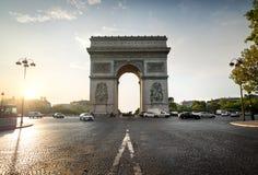 Arc de Triomphe et avenue Photos libres de droits