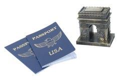 Arc de Triomphe et passeports Photographie stock