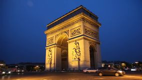 Arc de Triomphe in the evening stock footage