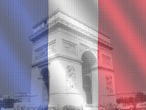 Arc de Triomphe with flag Royalty Free Stock Photo