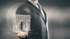Arc de Triomphe France Businessman Holding in Hand Landmark New technologies. Businessman in the future with futuristic technology with landmark stock footage