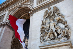 Arc de Triomphe with French Flag Stock Photos