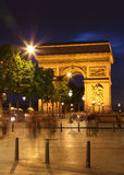 Arc De Triomphe and ghost of pedestrians Royalty Free Stock Photos