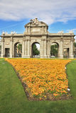 Arc de Triomphe and a huge flower bed Stock Image