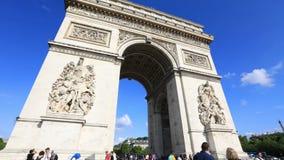 Arc de Triomphe hyperlapse. PARIS, FRANCE - JULY 2, 2017: Hyperlapse panorama of tourists under Arch of triumph. Arc de Triomphe at the western end of the Champs stock video