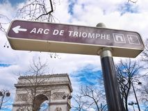 Arc de Triomphe and its street signal Sky background. The Arc de Triomphe and its street signal with an arrow indicating the way how to access it. Sky background Stock Image