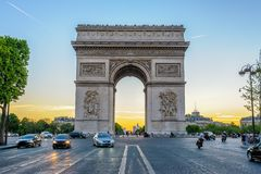 Arc de Triomphe in Paris , France. The Arc de Triomphe de l`Etoile is one of the most famous monuments in Paris, standing at the western end of the Champs-Eysees Royalty Free Stock Photo