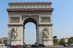Arc de Triomphe. De l'Etoile is one of the most famous monuments in Paris.  was built in 1806-1836 by architect Jean Shalgrenom by order of Napoleon to Stock Photos