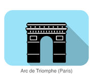 Arc De Triomphe landmark flat icon design Stock Images