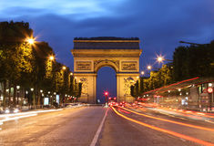 Arc De Triomphe and light trails Stock Image