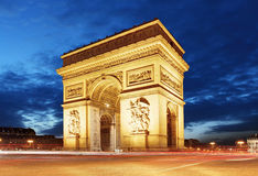 Arc De Triomphe and light trails, Paris Royalty Free Stock Images