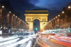 Arc De Triomphe and light trails, Paris Royalty Free Stock Photography