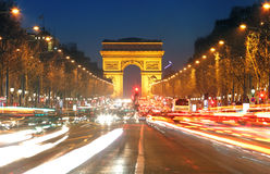 Arc De Triomphe and light trails, Paris Stock Images
