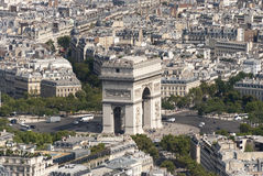 Arc de Triomphe looking from the Eiffel Tower. The Arc de Triomphe in Paris france Royalty Free Stock Image