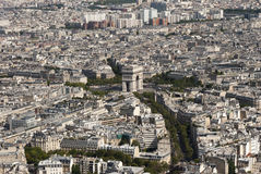 Arc de Triomphe looking from the Eiffel Tower. The Arc de Triomphe in Paris france Royalty Free Stock Photography