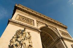 Arc de triomphe. Low angle view of the famous arc de triomphe in paris Royalty Free Stock Images