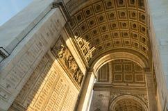 Arc de triomphe. Low angle view of the famous arc de triomphe in paris Royalty Free Stock Image