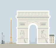 Arc de Triomphe and the Luxor Obelisk, Paris. Illustrations of the most popular tourist attractions Stock Photography
