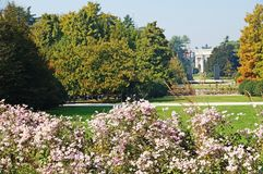 The Arc de Triomphe in Milan. Central Park in Milan. A trimmed lawn in the park around the Arc de Triomphe Royalty Free Stock Images