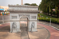 Arc de Triomphe in Mini Siam Park. PATTAYA, THAILAND - JAN 04, 2014: - Arc de Triomphe in Mini Siam Park. Mini Siam is a famous miniature park attraction. It had Royalty Free Stock Photography