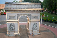 Arc de Triomphe in Mini Siam Park. PATTAYA, THAILAND - JAN 04, 2014: - Arc de Triomphe in Mini Siam Park. Mini Siam is a famous miniature park attraction. It had Royalty Free Stock Photo