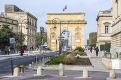 Arc de Triomphe in Montpellier, dating from 1692, with surroun. MONTPELLIER, FRANCE - MAR 31, 2017: Arc de Triumphe in Montpellier, dating from 1692, with Stock Photo