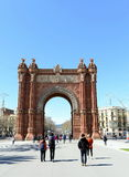 The arc de Triomphe is a monument in Barcelona Stock Images