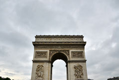 Arc de Triomphe with moody sky. In Paris, France Royalty Free Stock Photos