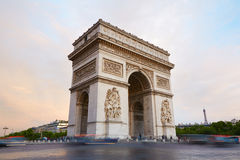 Arc de Triomphe, morning in Paris, France Royalty Free Stock Image