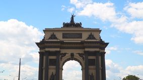 The Arc de Triomphe in Moscow on Kutuzovsky Prospekt.  stock footage