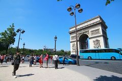 The Arc de Triomphe is  the most famous monuments in Paris Stock Photography