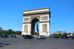 The Arc de Triomphe is  the most famous monuments in Paris. Arc de Triomphe is  the most famous monuments in Paris Royalty Free Stock Photo