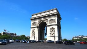 The Arc de Triomphe is  the most famous monuments in Paris Royalty Free Stock Image