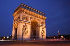 Arc de Triomphe na noite Imagem de Stock Royalty Free