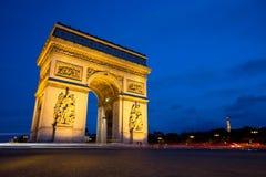 Arc de Triomphe na noite, Paris Fotografia de Stock