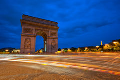 Arc de Triomphe na noite, Paris, France Fotografia de Stock