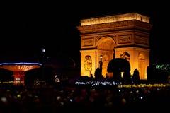 Arc de Triomphe nattsikt från Shen Zhen Windows av världen Arkivbild
